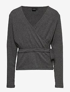 NLFNUNNE LS SHORT TOP - bluzki i tuniki - dark grey melange