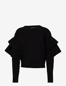 NLFSIDSEL SHORT LS KNIT - trøjer - black