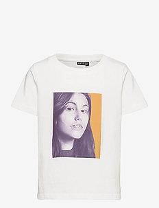 NLFTALUCA SS SHORT R TOP - t-shirts - snow white