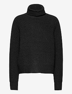 NLFTELLOW LS SHORT ROLLNECK KNIT - knitwear - black