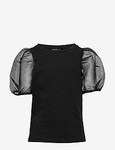 NLFFLORA BALLOON SHORT TOP - bluzki i tuniki - black
