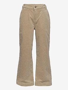 NLFANICKA CORD HW ANCLE WIDE PANT - spodnie - white pepper
