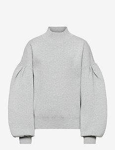 NLFSIDSEL SHORT LS BALLON KNIT - dzianinowe - light grey melange