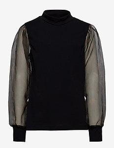 NLFSIRKELINE LS S SHORT TOP - bluzki i tuniki - black
