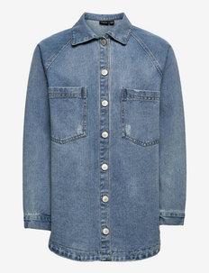 NLFNINDY DNM LS OVERSIZE JACKET - shirts - medium blue denim
