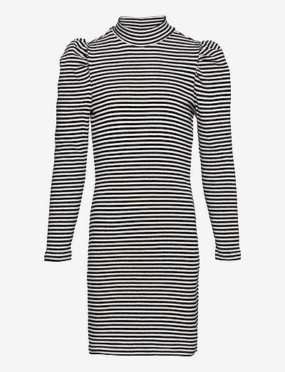 NLFNALLAS LS S  TURTLENECK DRESS STRIPE - kleider - black
