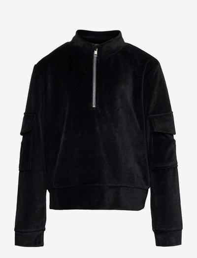 NLFNETTE VELVET SHORT SWEAT - sweatshirts - black