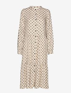 Kaia Dress - do kolan & midi sukienki - creme
