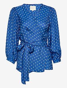 Venice Blouse - långärmade blusar - neon blue