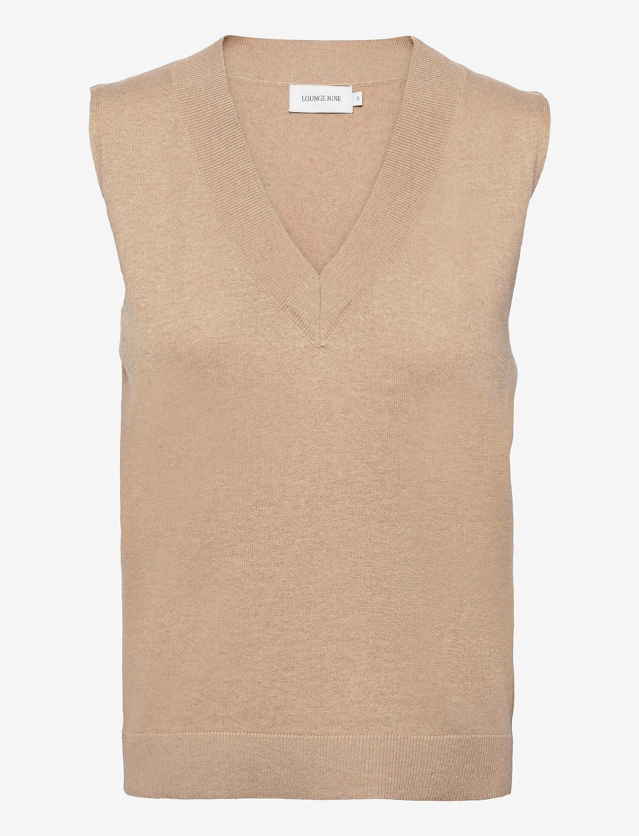 Lounge Nine - LNBallou Slipover - knitted vests - safari melange - 0
