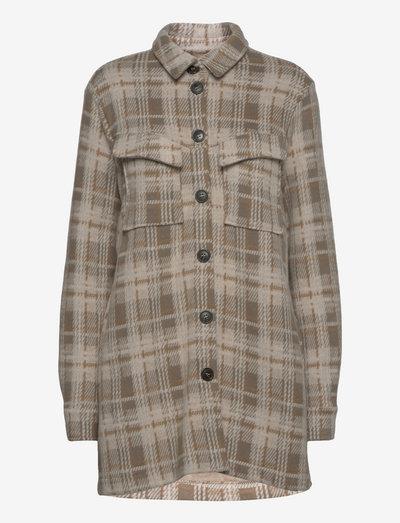 LNSilje Loose Shirt - winter jackets - greige check