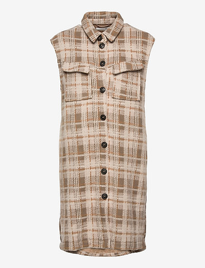 LNSilje Vest - knitted vests - greige check