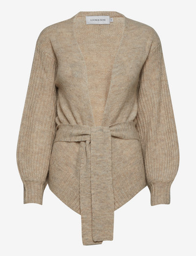 LNBaya Knit Wrap Cardigan - cardigans - oat melange
