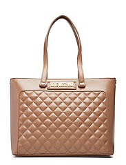 New Shiny Quilted Bags Shoppers Fashion Shoppers Brun LOVE MOSCHINO BAGS