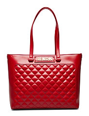 New Shiny Quilted Shopper Väska Röd LOVE MOSCHINO BAGS