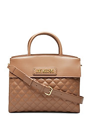 New Shiny Quilted Bags Top Handle Bags Brun LOVE MOSCHINO BAGS