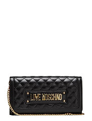 Slg-New Shiny Quilted Bags Clutches Svart LOVE MOSCHINO BAGS