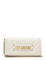 Slg-New Shiny Quilted Bags Clutches Creme LOVE MOSCHINO BAGS