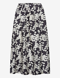 Long Severin Skirt - midinederdele - black