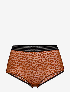 Holly leomesh high panty - RUST