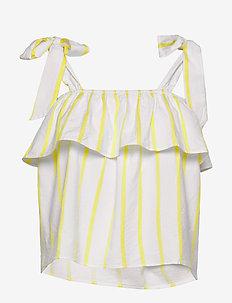 Ida top - ermeløse bluser - off white/lemon stripe