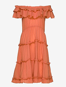 Inez flounce dress - TERRACOTTA