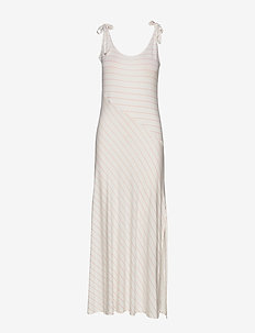 Isa maxi dress - OFF WHITE/PEACH PINSTRIPE