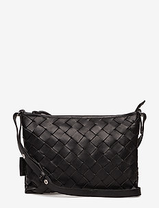 TRINE LARGE WOVEN CLUTCH - BLACK