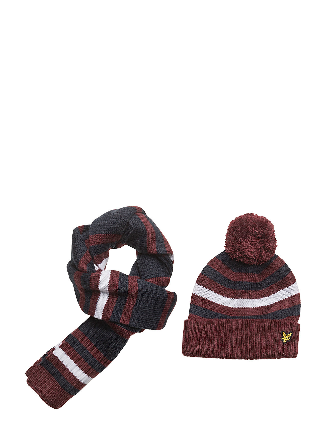 många stilar ny lista topp design Stripe Beanie And Scarf Set (Claret Jug) (40 €) - Lyle & Scott ...