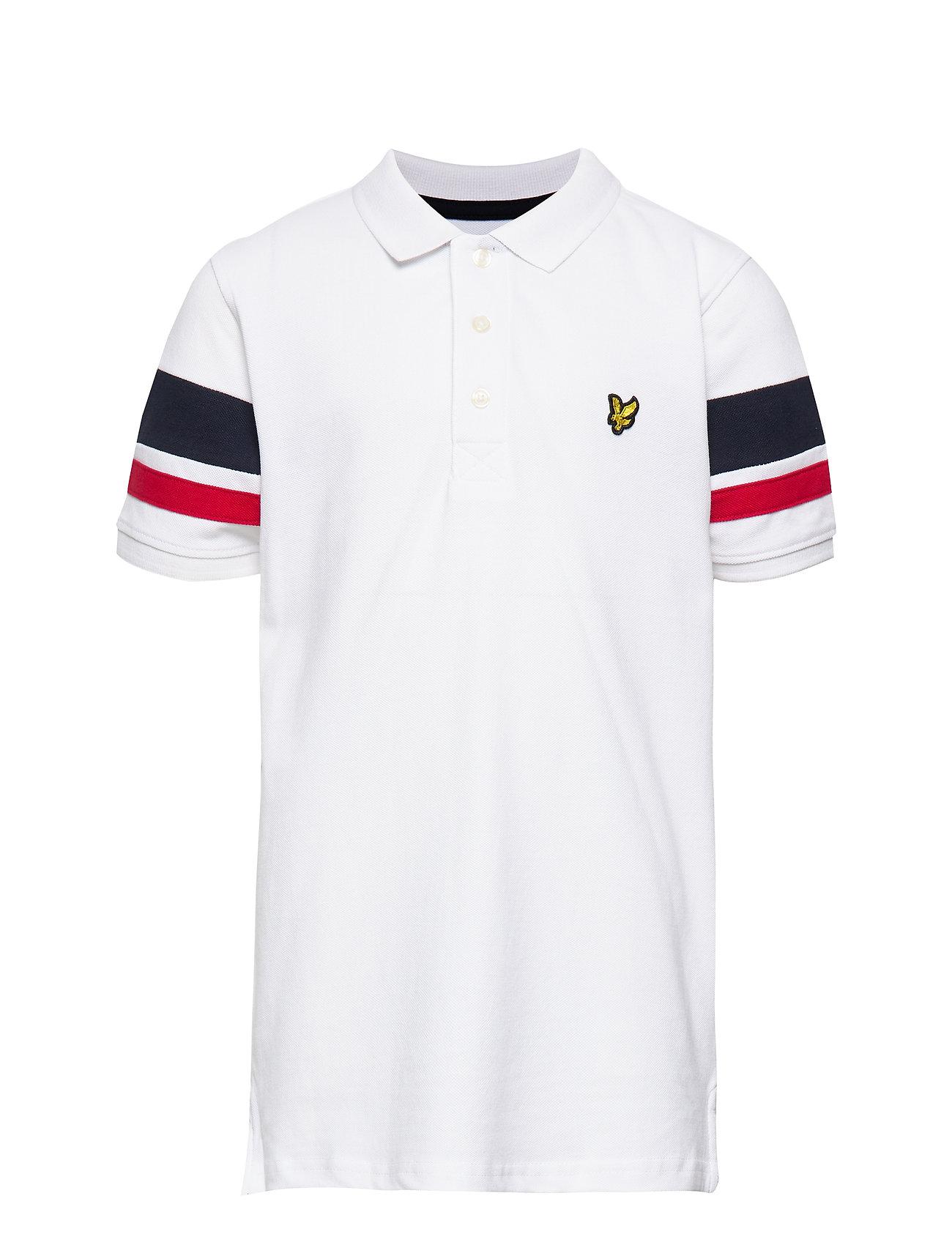 Lyle & Scott Junior Contrast Band Polo Shirt - BRIGHT WHITE
