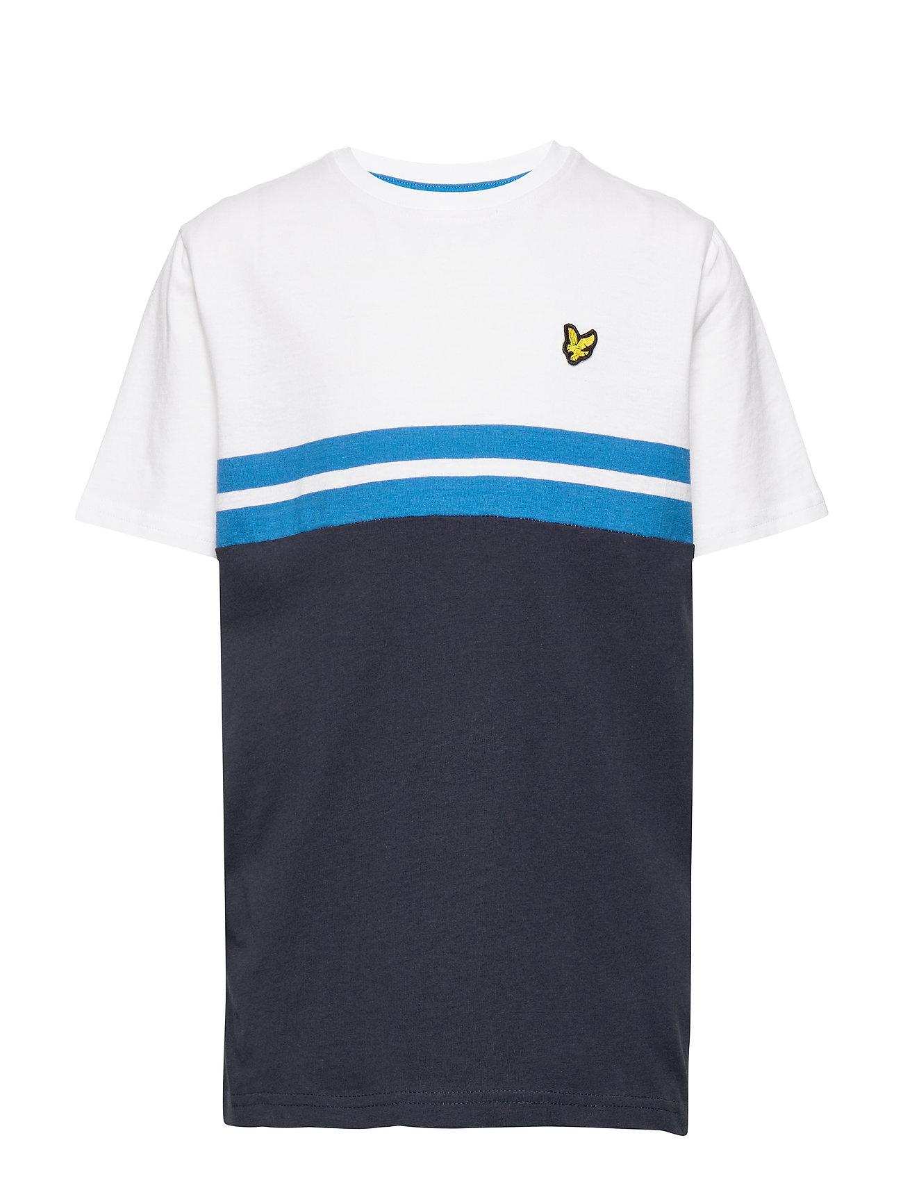 Lyle & Scott Junior Yoke Stripe T-Shirt Bright White - BRIGHT WHITE