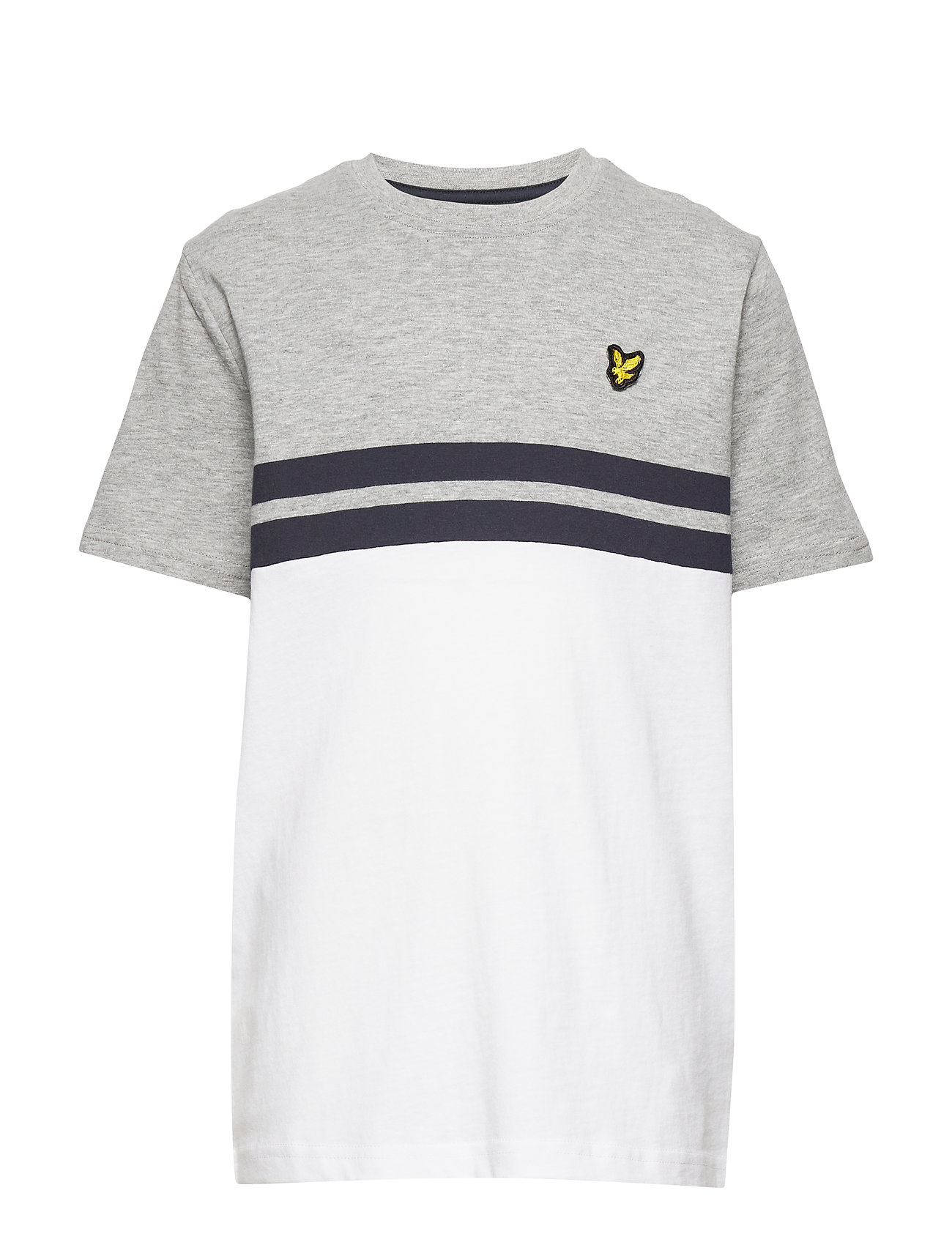 Lyle & Scott Junior Yoke Stripe T-Shirt Bright White - VINTAGE GREY HEATHER