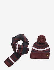 Lyle & Scott Junior - Stripe Beanie and Scarf Set - winter clothing - claret jug - 0