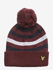 Lyle & Scott Junior - Stripe Beanie and Scarf Set - winter clothing - claret jug - 1