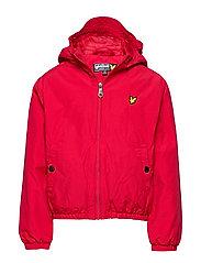 Zip Through Hooded Jacket - TANGO RED
