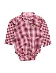 Lyle & Scott Gingham Shirt Ss - ROYAL RED