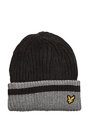 Plain Rib Beanie With Tipping - TRUE BLACK