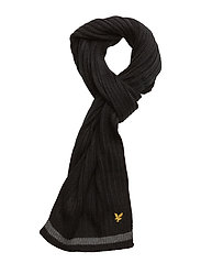Plain Rib Scarf With Tipping - TRUE BLACK