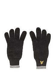 Plain Rib Gloves With Tipping - TRUE BLACK