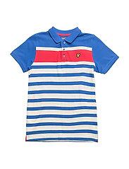 Yarn Dye Stripe Polo - LAKE BLUE