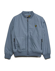 Nylon Lightly Wadded Bomber - MIST BLUE