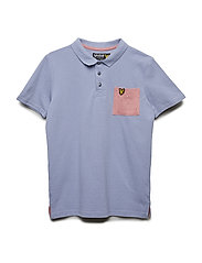 Micro Print Pocket Polo - MID BLUE