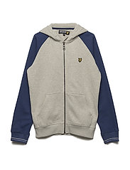 Colour Block Zip Through Hoodie - SEASHELL WHITE MARL