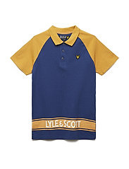 Raglan Polo Shirt with Back Print - TWILIGHT BLUE