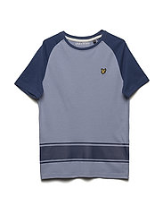 Ringer Raglan T-shirt with Back Print - MID BLUE