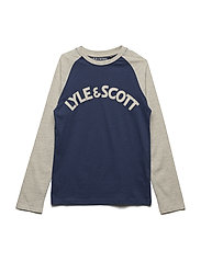 LS Ringer Raglan T-shirt with Chest Logo - TWILIGHT BLUE