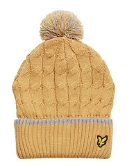 Knitted Beanie with Bobble - HONEY