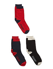 Mix Solid 3 Pair Socks - POMEGRANATE
