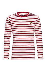 LS Breton Stripe Tee - ROYAL RED