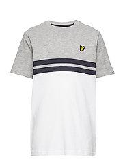 Yoke Stripe T-Shirt Bright White - VINTAGE GREY HEATHER